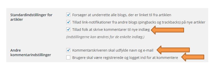 Diskussion indstillinger i WordPress